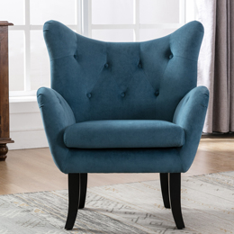 Velvet Wingback Accent Chair Armchair Modern Tufted Button Vanity Chair with Wooden legs for Living Room Bedroom,Teal Blue