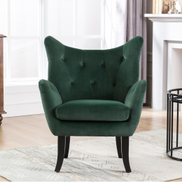 Velvet Wingback Accent Chair Armchair Modern Tufted Button Vanity Chair with Wooden legs for Living Room Bedroom,Green