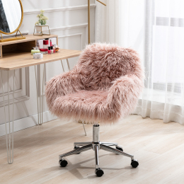 HengMing Modern Faux fur home  office chair, fluffy chair for girls, makeup vanity Chair