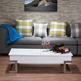 ACME Calnan Coffee Table in White & Chrome 81850