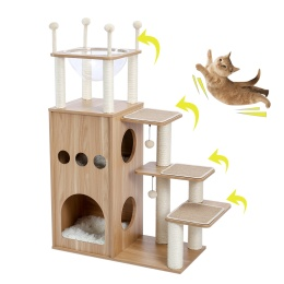 Cat Tree Modern Cat Tower Featuring with Fully Sisal Covering Scratching Posts, Deluxe Condos and Large Space Capsule Nest